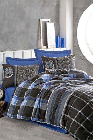 Double quilt cover set Cotton box. Цвет: grey, blue, black