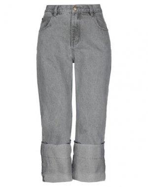 Джинсовые брюки-капри KENGSTAR. Цвет: серый