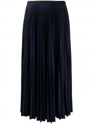 Плиссированная юбка миди Lacoste. Цвет: синий