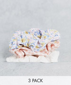 Набор из 3 резинок для волос в клетку, белого цвета и с мелким цветочным принтом -Multi Stradivarius
