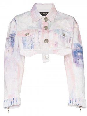 Укороченная джинсовая куртка с эффектом разбрызганной краски Balmain