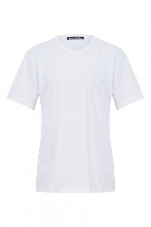 Белая хлопковая футболка Acne Studios. Цвет: белый