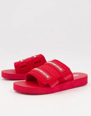 Красные шлепанцы на липучке -Красный Versace Jeans Couture