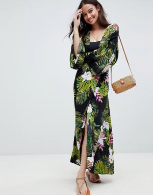 Пляжное платье макси с длинными рукавами, глубоким вырезом и тропическим принтом -Мульти ASOS DESIGN