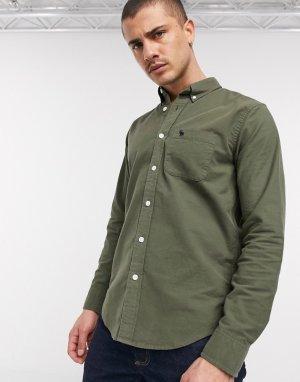 Зеленая оксфордская рубашка с логотипом -Зеленый Abercrombie & Fitch