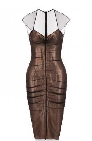 Приталенное платье-миди с драпировкой Tom Ford. Цвет: бежевый