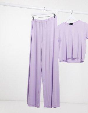 Лавандовые трикотажные широкие брюки от пижамы -Фиолетовый ASOS DESIGN
