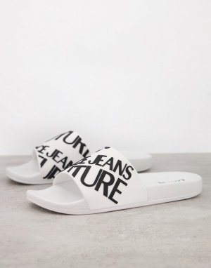 Белые шлепанцы с логотипом -Белый Versace Jeans Couture