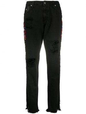 Зауженные джинсы с вышивкой John Richmond. Цвет: черный